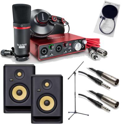 Focusrite Scarlett 2i2 Studio 2nd Gen Pack Recording Bundle + KRK RP5G4 Monitors