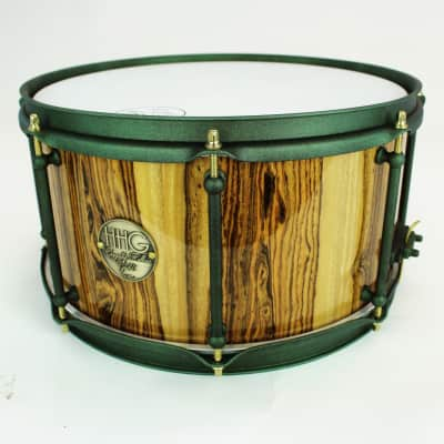 HHG Drums 13x7 Bocoté Stave Snare Drum 2017 High Gloss Lacquer And Forrest Green Shimmer Hardware
