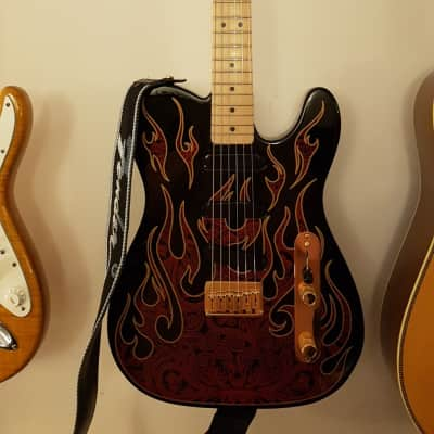 James Burton Telecaster Black w Red Flames for sale