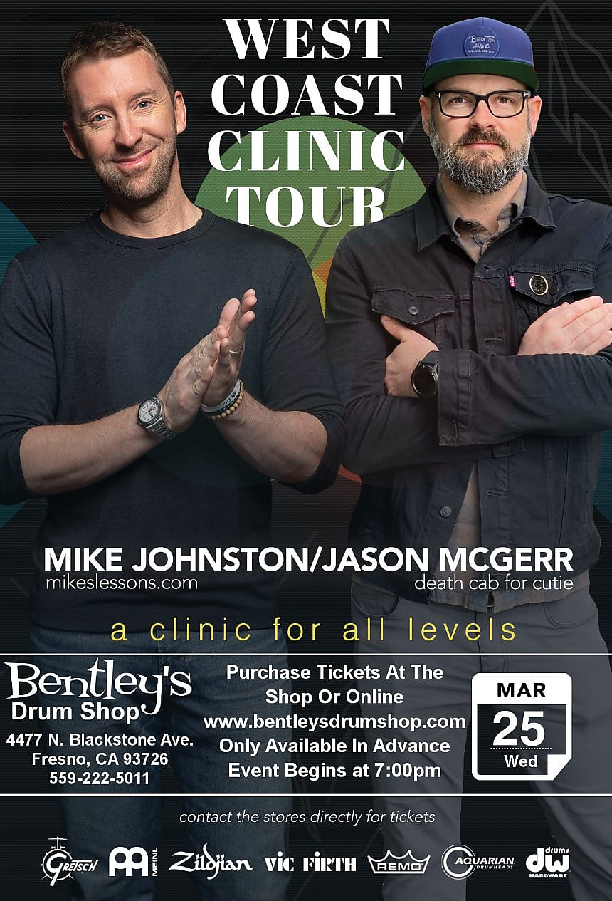 March 25th Bentley's Drum Shop Clinic Ticket - Mike Johnston and Jason McGerr