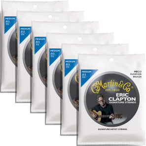 6 Sets Martin MEC13 Claptons Choice Acoustic Guitar Strings Medium 13-56 6-Pack