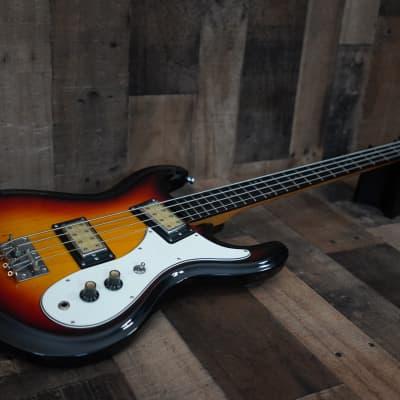 "Univox Hi-Flyer Bass 1970s Sunburst Humbucker Made in Japan MIJ 30.25"" Scale Vintage"