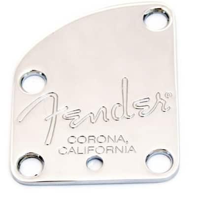 Genuine Fender American Deluxe Strat 4-Bolt Corona Neck Plate - Chrome