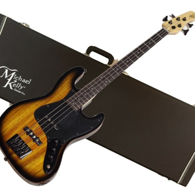 MICHAEL KELLY Element 4-string electric BASS guitar NEW w/ Hard Case - Zebra Burst for sale
