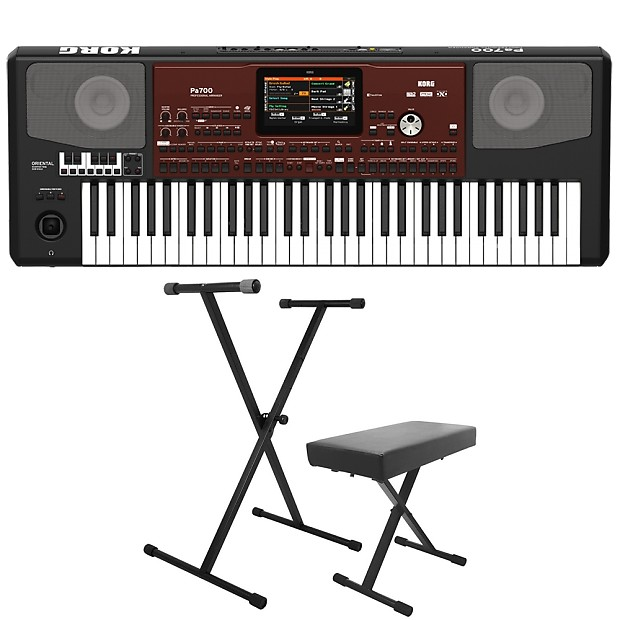 Korg Pa700 Oriental 61-Key Arranger Workstation Keyboard + X-Style Stand +  Bench