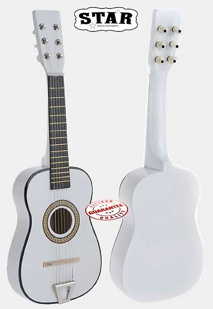 Star Kids Acoustic Toy Guitar 23 Inches Color White Reverb