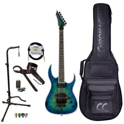 BC Rich Guitars Shredzilla Prophecy Archtop Electric Guitar with Floyd Rose, Case, Strap, and Stand, Cyan Blue Burl for sale