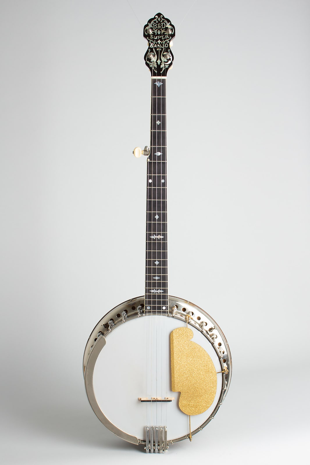 Bacon & Day  Super Style A Conversion 5 String Banjo (1923), ser. #10354, black hard shell case.