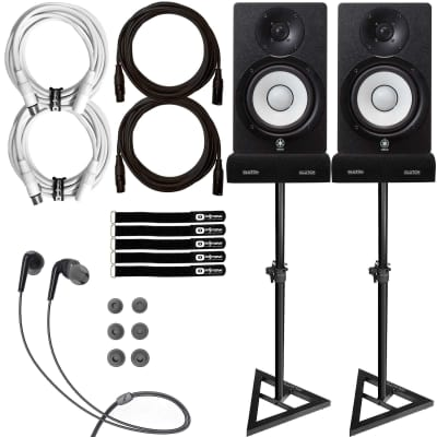"Yamaha HS7 6.5"" Powered Studio Recording Monitor Speakers Pair w Stands + Cables"