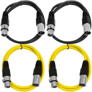 Seismic Audio SAXLX-2-2BLACK2YELLOW XLR Male to XLR Female Patch Cables - 2' (4-Pack)