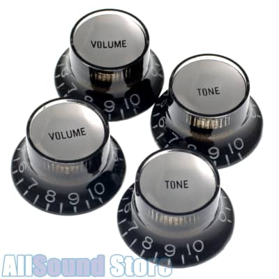 (4) BLACK Bell Top Hat KNOBS w/ SILVER Reflector for Epiphone® & Import Guitars