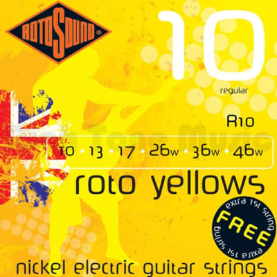 Rotosound Roto Yellow Electric Guitar Strings 10-46 Regular for sale