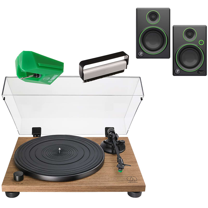Audio Technica AT-LPW40WN Fully Manual Belt-Drive Turntable w/Replacement  Stylus, Speakers & Brush