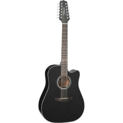 Takamine GD30CE-12BLK Dreadnought 12-String Cutaway Acoustic-Electric Guitar, Black,  GD30CE12BLK for sale