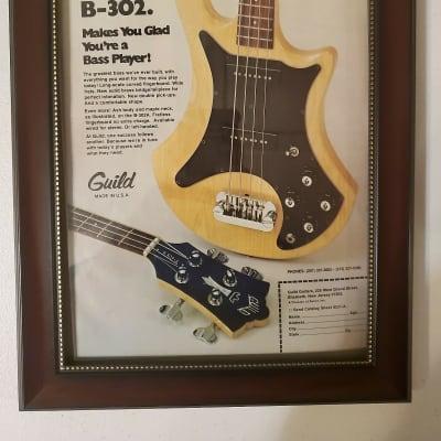 1978 Guild Guitars Color Promotional Ad Framed Guild B-302 Bass Original