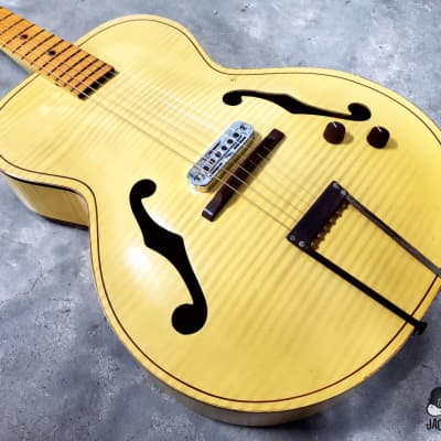 "Kay K6868 Style Leader ""Gutbucket II"" Archtop w/ Teisco Pickup (1950s, Blonde w/ Faux Flame)"