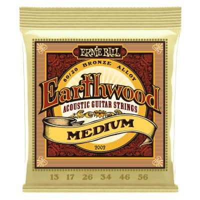 Ernie Ball 2002 Earthwood Medium 80/20 Bronze Acoustic Guitar Strings - 13-56 Gauge