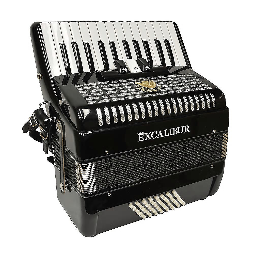 Excalibur Super Classic 48 Bass Ultralite Accordion- Ebony Polish