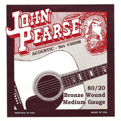 John Pearse 300M Bronze Wound Acoustic Guitar Strings - Medium