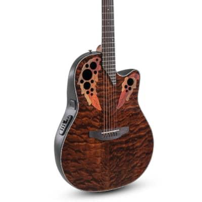 Ovation Celebrity Elite Plus E-Acoustic Guitar CE44P-TGE, Mid, Dark Tiger Eye