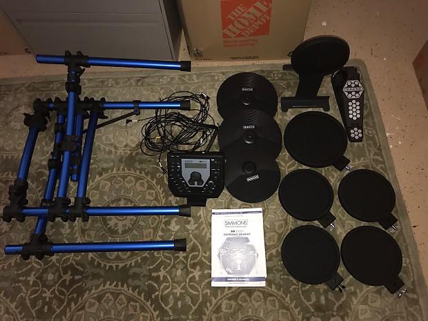 Simmons Sd1000 Electronic Drum Kit 2016 Black Blue Reverb