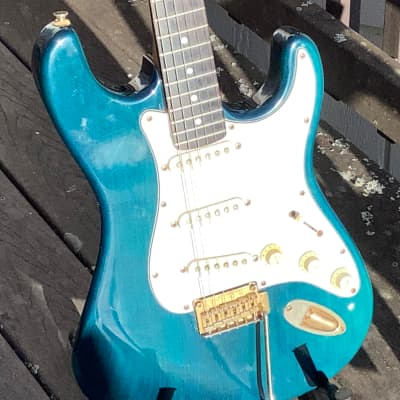 Hohner Professional ST 59 1980s Teal Electric Guitar for sale