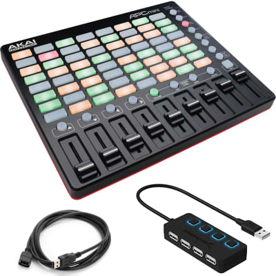 Akai Professional APC Mini   Compact Ableton Live Controller with Ext. Cable with 4-Port USB 2.0 Hub