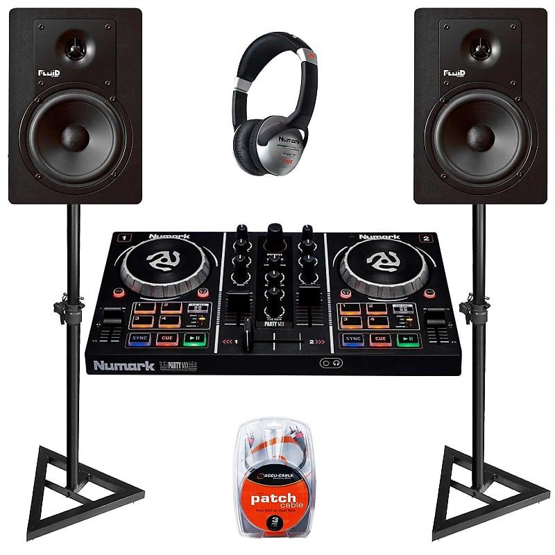 Numark Party Mix DJ Mixer/Controller w Stands + Loud Studio Monitor Speakers