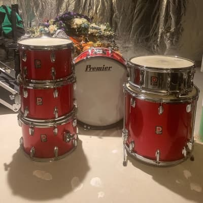 Premier 6500 This vintage drum set is like brand new hardly ever used I bought it in 7475 and stop playing shortly afterwards and kept in cases ever since as you can see the black cases in the photo they've been in those cases for years Red