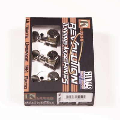Kluson Revolution Diecast Tuners 6 Inline Vintage Locking H-Mount Nickel image