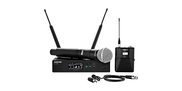 shure qlxd124 85 h50 handheld and lavalier combo wireless mic reverb. Black Bedroom Furniture Sets. Home Design Ideas