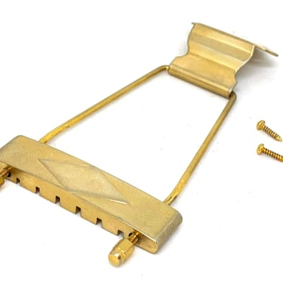 GuitarSlinger Parts Aged Gold Long Diamond Trapeze Tailpiece For Gibson Archtop Guitars L-50 L48 ES-