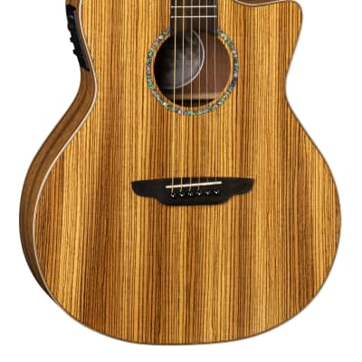 Luna High Tide Zebra Grand Concert Caw  Satin Natural Acoustic Electric Guitar - Free Shipping! for sale