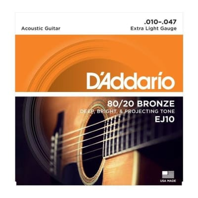 D'Addario 80/20 Bronze Acoustic Guitar Strings - Extra Light   EJ10