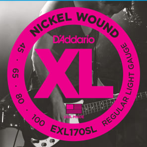 D'Addario EXL170-5SL Nickel Wound Super Long Scale 5-String Bass Guitar Strings, Light Gauge