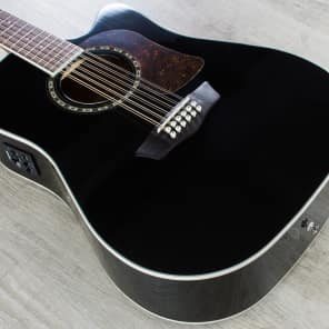 Washburn Heritage Series HD10SCEB Acoustic-Electric Cutaway Dreadnought Guitar Gloss Black