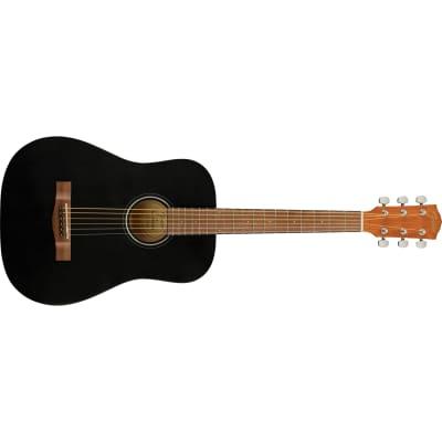 Fender FA-15 3/4 Scale Steel String Acoustic Guitar with Gig Bag, Walnut, Black