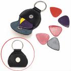 Genuine Leather Guitar Pick Holder Keychain Plectrum With 6 Picks image