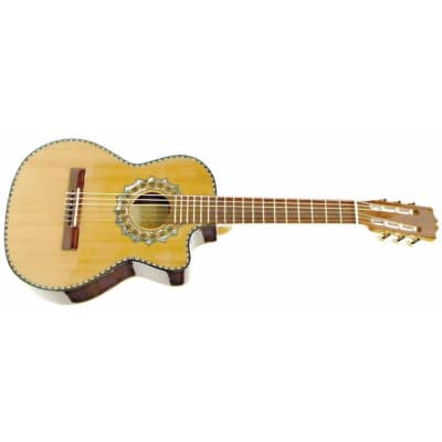 Paracho Elite Zapata Solid Cedar Top Nylon 6 String Requinto Guitar, Natural for sale