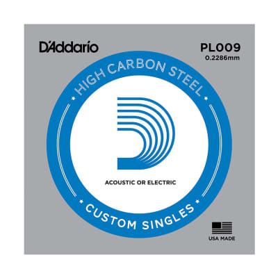 D'Addario PL009 SINGLE PLAIN STEEL 009 Acoustic Electric Guitar String