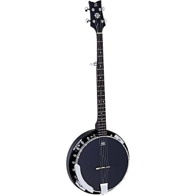 Ortega Guitars OBJ250-SBK Raven Series 5-String Banjo in Satin Black w/ Deluxe Gig Bag for sale