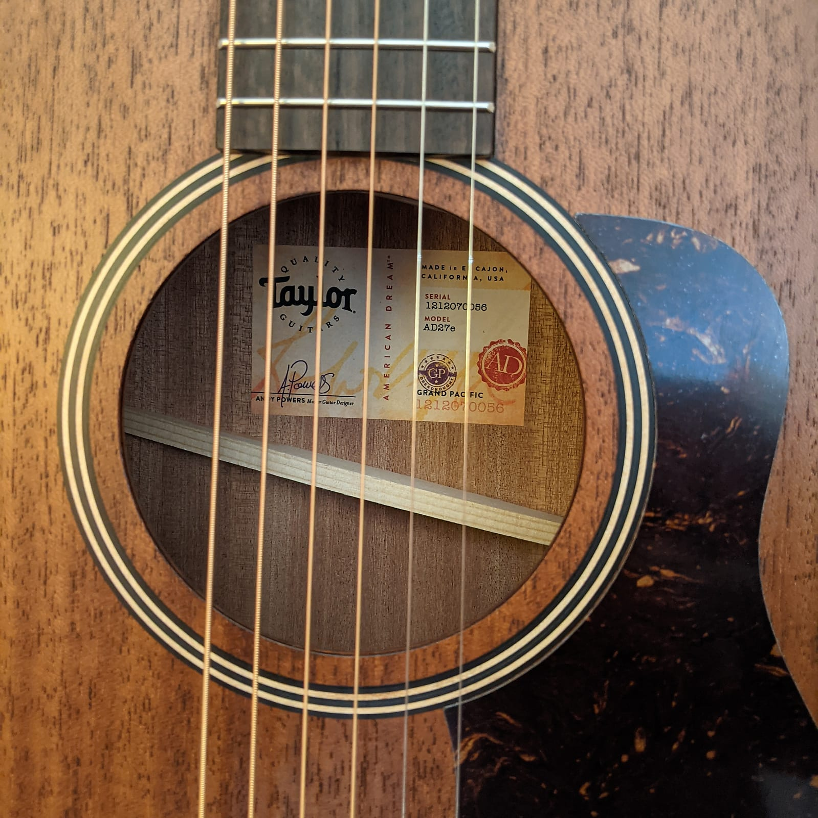 Taylor AD27e Grand Pacific American Dream Acoustic Electric Guitar Urban Sienna