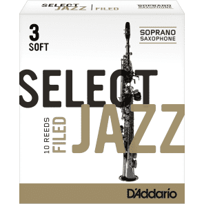 Rico RSF10SSX3S Select Jazz Soprano Saxophone Reeds, Filed - Strength 3 Soft (10-Pack)