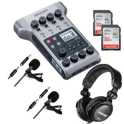 Zoom PodTrak P4 Portable Multitrack, (2) Mosotech Lavalier Microphone, (2) SD Card 32GB, Tascam TH02 Bundle