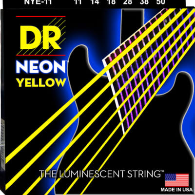 DR Strings NYE-11 NEON Hi-Def Yellow Coated Electric Strings - Heavy, 11-50 for sale