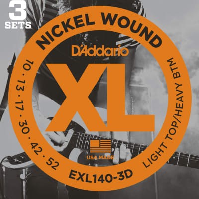 D'Addario XL Nickel Wound Electric Guitar Strings - Light / Heavy, 3 Pack for sale