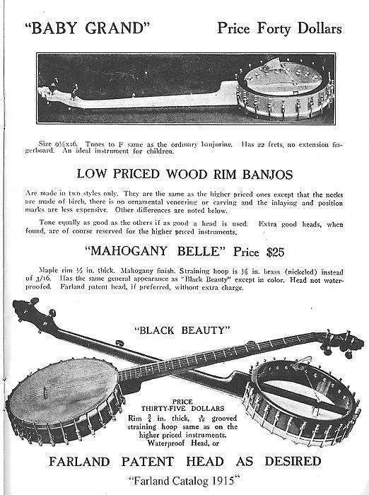 A. A. Farland  Black Beauty 5 String Banjo,  c. 1915, NO CASE case.