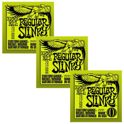 ERNIE BALL Regular Slinky Nickel Wound Electric Guitar Strings (2221) - 3 Pack