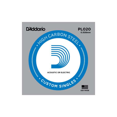 D'Addario Nickel Plain Electric/Acoustic Single String PL020