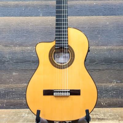 Cordoba 55FCE Left-Handed Honey Amber Thinbody Electro-Classical Guitar w/Case